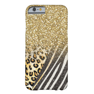 Awesome girly trendy gold leopard and zebra barely there iPhone 6 case