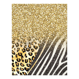 Awesome girly trendy gold leopard and zebra print 21.5 cm x 28 cm flyer