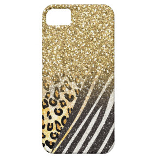 Awesome girly trendy gold leopard and zebra print barely there iPhone 5 case