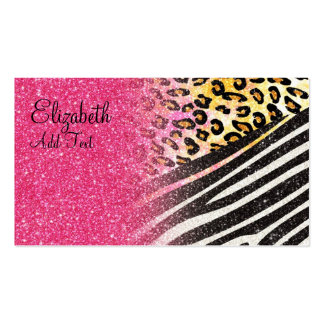 Awesome girly trendy leopard print, zebra stripes pack of standard business cards