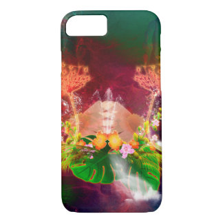 Awesome glowing flowers with bubbles and waterfall iPhone 7 case