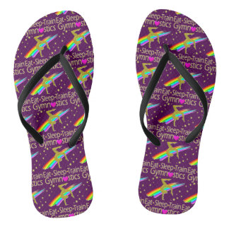 AWESOME GOLD AND PURPLE GYMNASTICS DESIGN THONGS