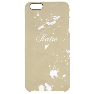 Awesome Golden White Paint Splatter Custom Clear iPhone 6 Plus Case
