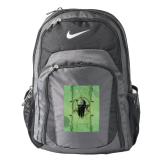 Awesome green skull with grunge backpack