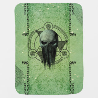 Awesome green skull with grunge pramblanket