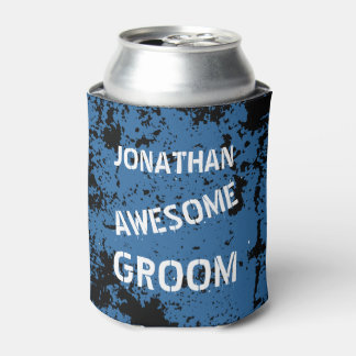 Awesome Groom BLUE Grunge W02 Can Cooler