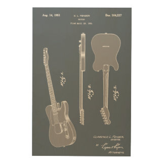 Awesome Guitar Patent Art Wood Canvas