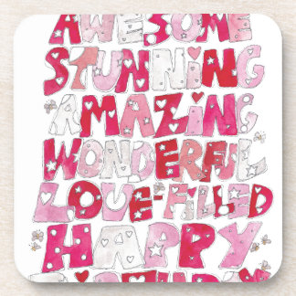 Awesome Happy Birthday Beverage Coaster