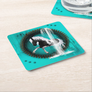 Awesome horse square paper coaster