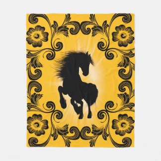 Awesome horse silhouette with decorative damasks fleece blanket