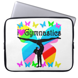 AWESOME I LOVE GYMNASTICS BUTTERFLY DESIGN LAPTOP SLEEVE