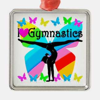 AWESOME I LOVE GYMNASTICS BUTTERFLY DESIGN Silver-Colored SQUARE DECORATION