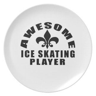 AWESOME ICE SKATING PLAYER DINNER PLATES