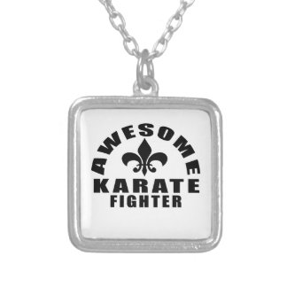 AWESOME KARATE FIGHTER SILVER PLATED NECKLACE