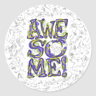 """""""Awesome!"""" Lettering Classic Round Sticker"""