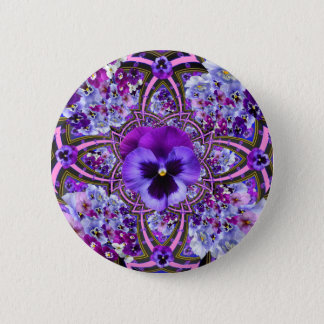 AWESOME LILAC PURPLE PANSIES GARDEN ART 6 CM ROUND BADGE