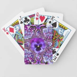 AWESOME LILAC PURPLE PANSIES GARDEN ART BICYCLE PLAYING CARDS