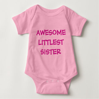 AWESOME LITTLEST SISTER Pink Baby Outfit Baby Bodysuit