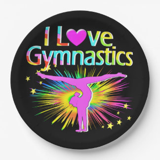 AWESOME LOVE GYMNASTICS PAPER PLATES