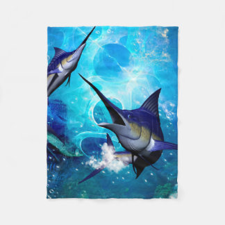 Awesome marlin with bubbles fleece blanket