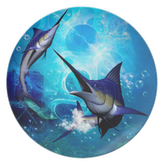 Awesome marlin with bubbles plates