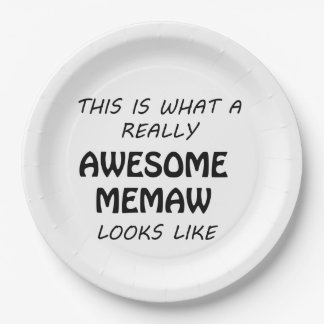 Awesome Memaw Paper Plate