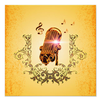 Awesome microphone with clef 13 cm x 13 cm square invitation card