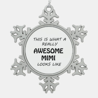 Awesome Mimi Snowflake Pewter Christmas Ornament