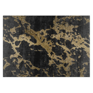Awesome modern faux gold glitter black marble cutting boards