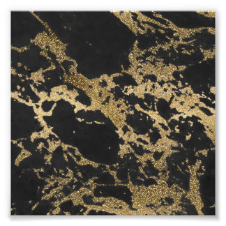 Awesome modern faux gold glitter black marble photo print
