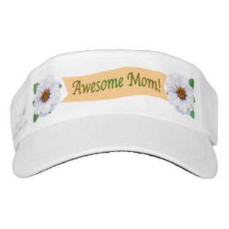Awesome Mom Mother's Day Garden Zinnia Flowers Visor