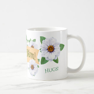 Awesome Mom White Zinnias Mother's Day Coffee Mug