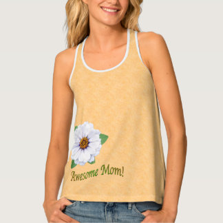Awesome Mum White Zinnia Flowers For Mother's Day Tank Top