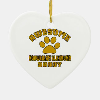AWESOME NORWEGIAN ELKHOUND DADDY CERAMIC HEART DECORATION