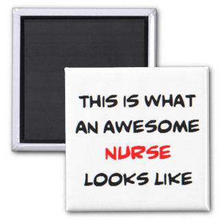 awesome nurse square magnet