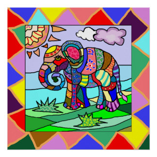 Awesome ornamental folk art colorful elephant poster