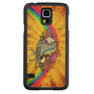 Awesome Overload Unicorn, Rainbow & Bacon Maple Carved Maple Galaxy S5 Case