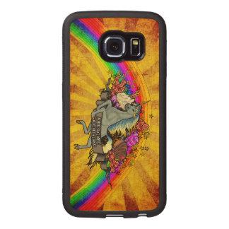 Awesome Overload Unicorn, Rainbow & Bacon Maple Wood Phone Case