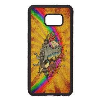 Awesome Overload Unicorn, Rainbow & Bacon Maple Wood Samsung Galaxy S6 Edge Case