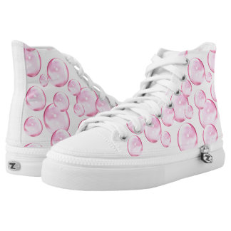 Awesome Pink Bubbles on White High Tops