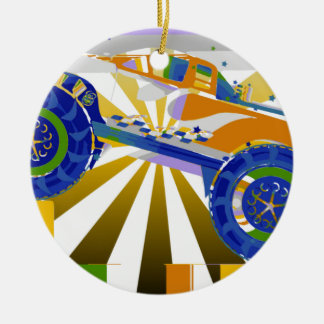 Awesome psychedelic Monster truck Ceramic Ornament
