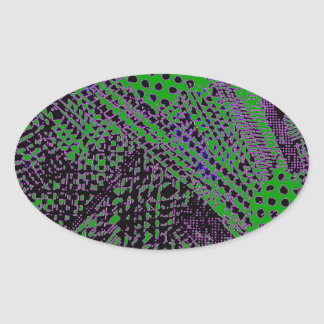 Awesome Purple Green Abstract Architectural Design Oval Sticker