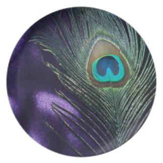 Awesome Purple Peacock Feather Plate