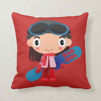 Awesome RAD GIRL Snowboarder Pillow