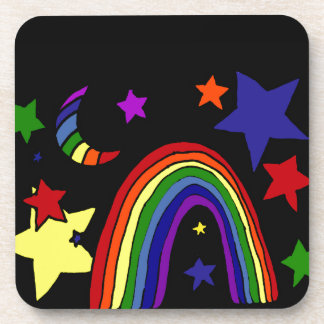 Awesome Rainbow and Stars Art Abstract Drink Coasters
