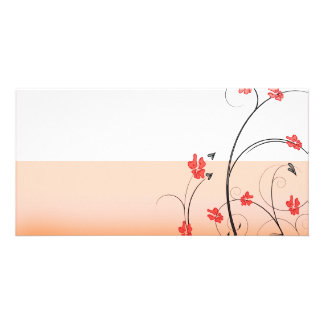 Awesome reddish blossom and black swirls photo card template