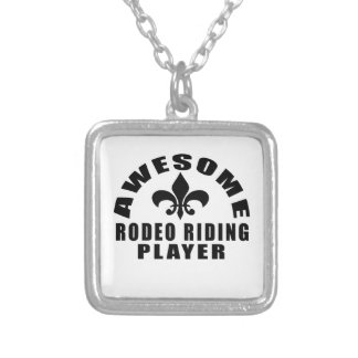 AWESOME RODEO RIDING PLAYER SILVER PLATED NECKLACE