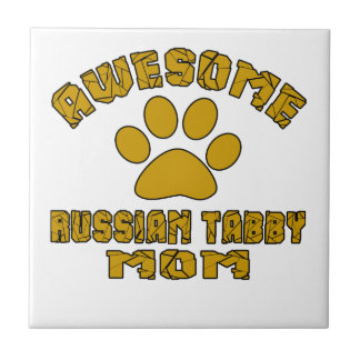 AWESOME RUSSIAN TABBY MOM SMALL SQUARE TILE