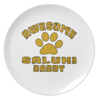 AWESOME SALUKI DADDY PARTY PLATES