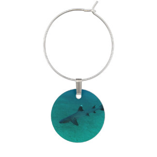 Awesome Shark in the Deep Wine Charms